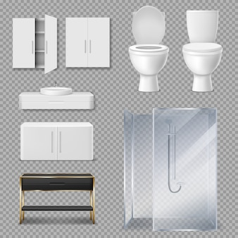 Cabina doccia, water e lavandino per il bagno