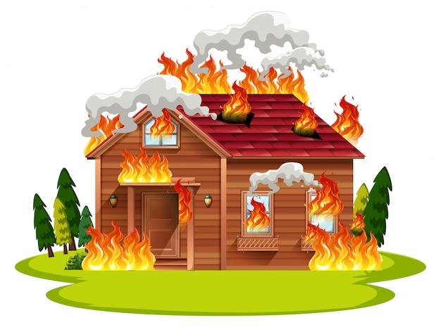 Cabina in legno casa in fiamme