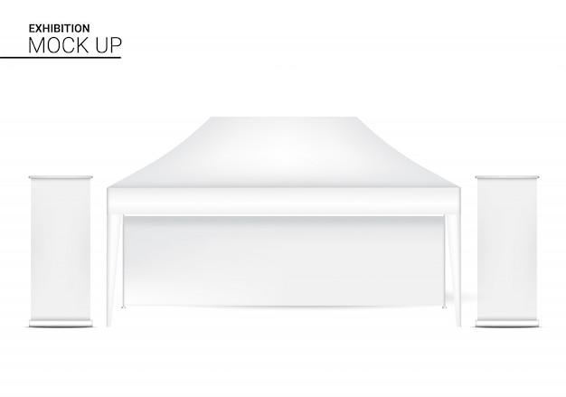 Cabina realistica del chiosco della tenda 3d con l'insegna pop da vendere la promozione di vendita. concept design di eventi e mostre.