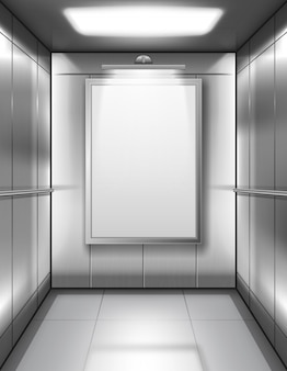 Cabina vuota dell'elevatore con il manifesto in bianco