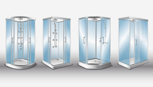 Cabine doccia con porte in vetro trasparente e moderno sistema doccia, isolato.