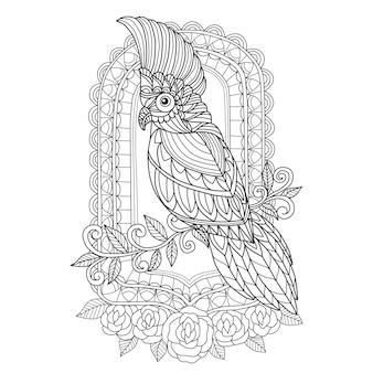 Cacatua e specchio disegnati a mano