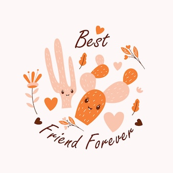 Cactus carino vettoriale illustrazione con best friend forever quote