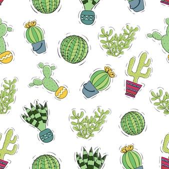 Cactus colorato con vaso utilizzando stile doodle