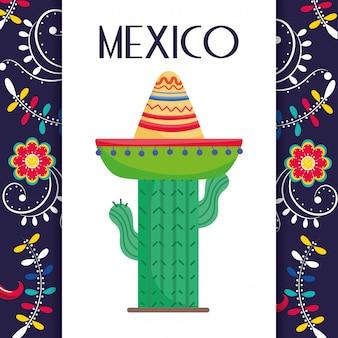 Cactus con cappello fiori decorazione messico tradizionale carta evento carta vettoriale
