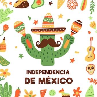 Cactus con il giorno internazionale di maracas del messico