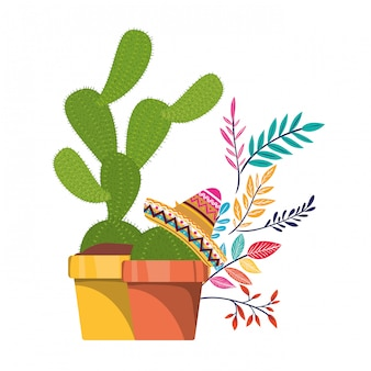 Cactus con pentola e icona cappello messicano