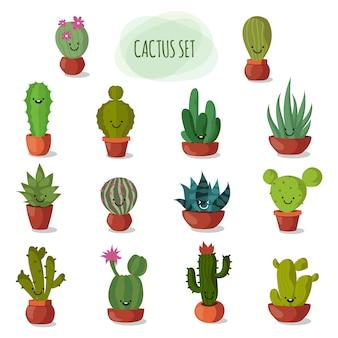 Cactus del deserto del fumetto divertente e sveglio in vasi di vettore