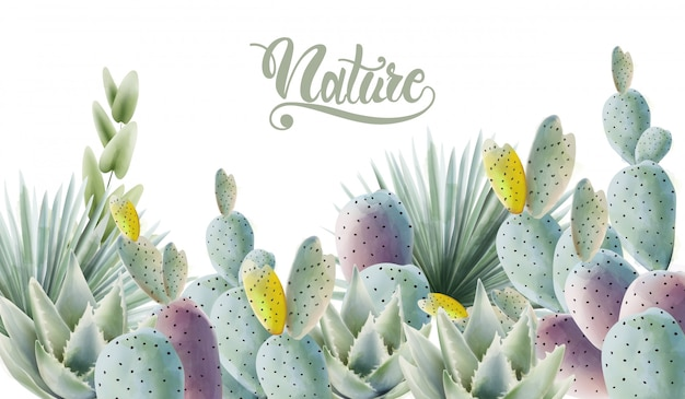 Cactus dell'acquerello e fondo verdi delle foglie di palma