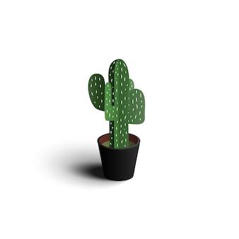 Cactus della carta di progettazione di vettore della pianta 3d del cactus isolato