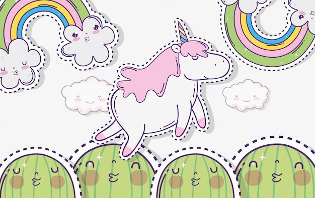 Cactus di kawaii con unicorno e nuvole con arcobaleno