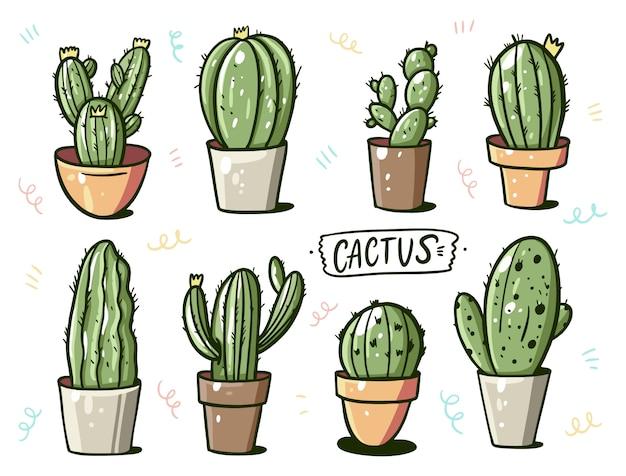 Cactus differente in vasi da fiori domestici. stile cartone animato.