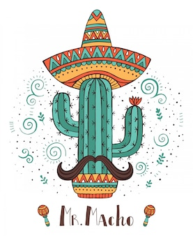 Cactus disegnato a mano di concetto del messico con i baffi