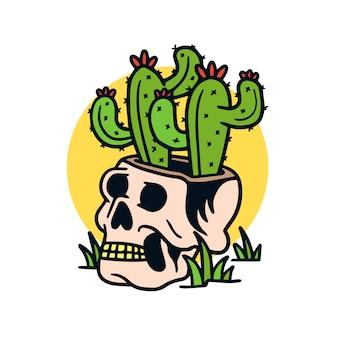 Cactus disegnato a mano in un'illustrazione del tatuaggio della vecchia scuola del cranio
