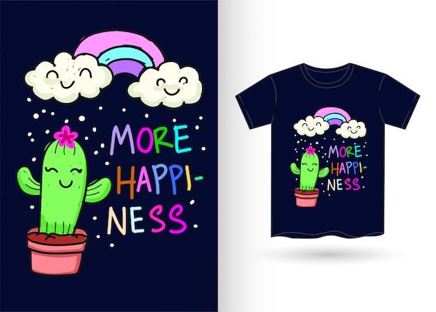 Cactus e arcobaleno disegnati a mano per la maglietta