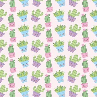 Cactus e pianta di kawaii nella carta da parati decorativa del vaso