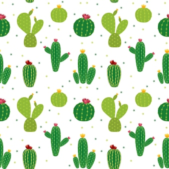 Cactus icon collection seamless pattern di sfondo