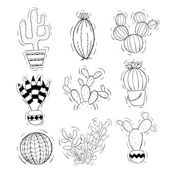 Cactus in bianco e nero impostato con vaso con stile doodle