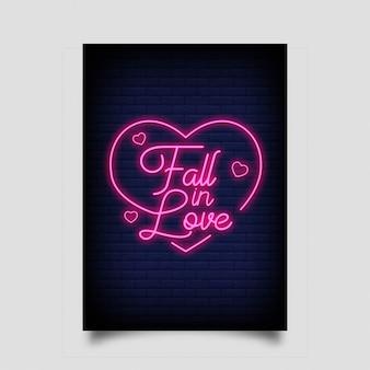 Cadere in diretta per poster in stile neon. insegne al neon di ispirazione moderna citazione