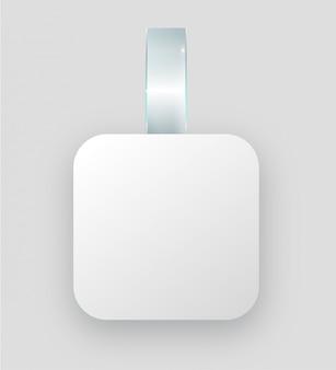 Caduta bianca in bianco del wobbler sulla parete, rappresentazione 3d