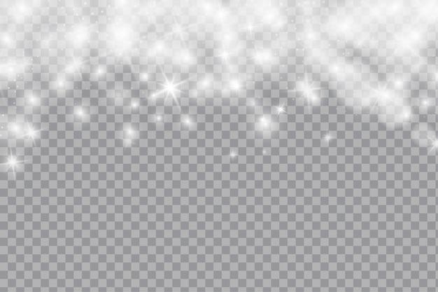 Caduta brillante neve o fiocchi di neve su sfondo trasparente