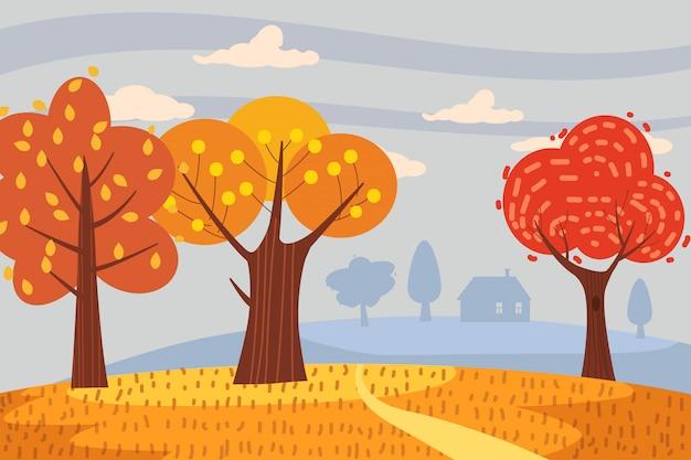 Caduta di colore arancione rosso giallo degli alberi del paesaggio di autunno
