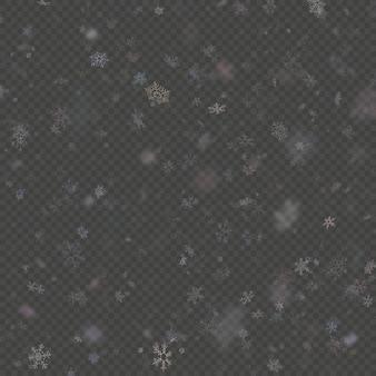 Caduta fiocco di neve viola sovrapposizione effetto teplate su sfondo trasparente.