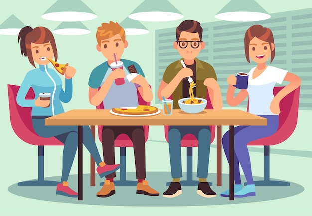 Cafe degli amici. le persone amichevoli mangiano bevande pranzo tavolo divertimento posti a sedere amicizia giovani ragazzi incontro ristorante piatto bar immagine