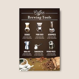Caffè arabica fagioli arrosto bruciano con sacchetto. caffettiera, illustrazione dell'acquerello infographic