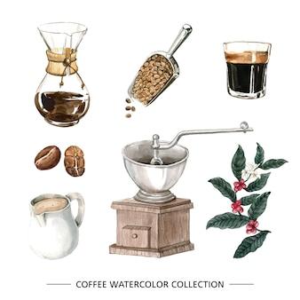 Caffè dell'acquerello isolato creativo