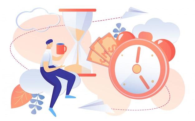 Caffè della bevanda dell'uomo di concetto della gestione di orario di lavoro