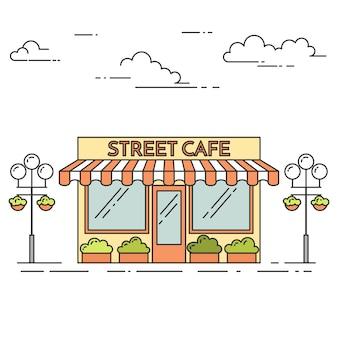 Caffè di strada con lampade, fiori su sfondo bianco. illustrazione vettoriale linea artistica.