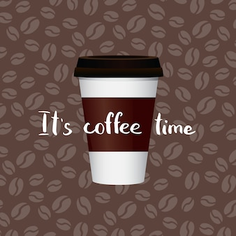 Caffè in tazza di carta con scritte su chicchi di caffè. banner con tazza di caffè in carta