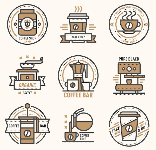 Caffè logo distintivo monogramma design cafe segno coffeeshop monogramma e ristorante simbolo retrò cibo bevanda caffè monogramma menu business badge negozio icona adesivo