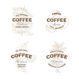 Caffè. set di loghi disegnati a mano d'epoca. emblema di botanica. stile schizzo.