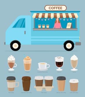 Caffetteria, venditore con bevande e bevande