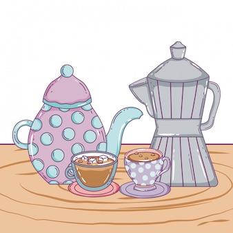 Caffettiera e tazze