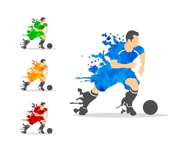 Calciatore o calciatore in un'azione con splash splat e acquerello