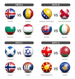 Calcio 3d con set di bandiera del paese