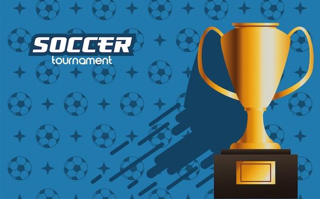 Calcio calcio sport con trofeo coppa premio