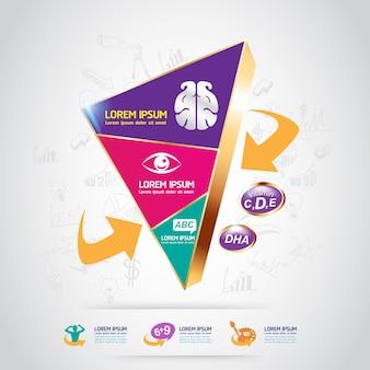 Calcio e vitamina per bambini - concept logo gold kids