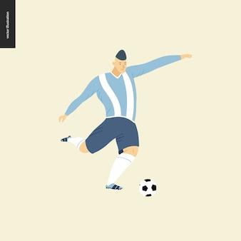 Calcio europeo, giocatore di calcio - illustrazione piatto di vettore di un giovane che indossa l'attrezzatura europea del giocatore di football americano che dà dei calci ad un pallone da calcio