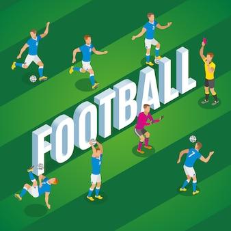 Calcio isometrico con i giocatori nel movimento che dà dei calci alla palla sull'illustrazione del campo dello stadio
