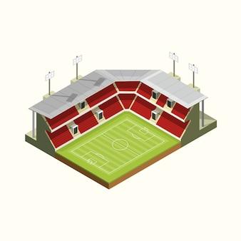 Calcio isometrico di structur del tetto dello stadio dell'icona o calcio. illustrazione vettoriale