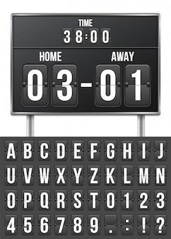 Calcio, tabellone segnapunti meccanico, conto alla rovescia.