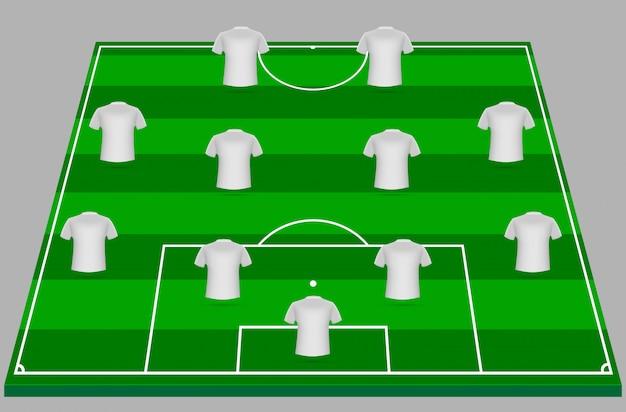 Calcio verde archiviato con magliette bianche