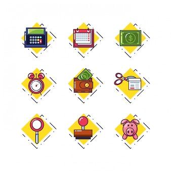 Calcolatore finanziario con documento e set di icone