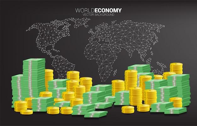 Calcolatrice con stack di monete e banconote con sfondo di mappa mondo poligono