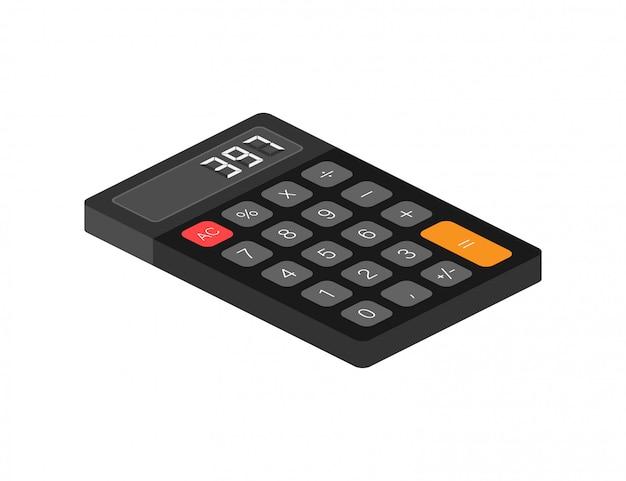 Calcolatrice nera sfondo bianco. design moderno. calcolatrice portatile elettronica. illustrazione di riserva.