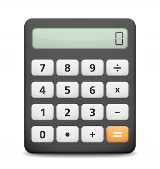 Calcolatrice su sfondo bianco